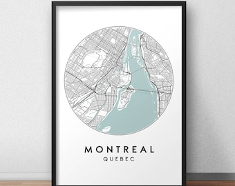 Montreal City Print, Street Map Art, Montreal Map Poster, Montreal Map Print, City Map Wall Art, Montreal Map, Travel Poster, Quebec, Canada