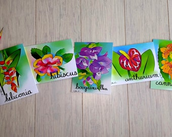 Tropical Flower Note Cards (with plain white envelopes)
