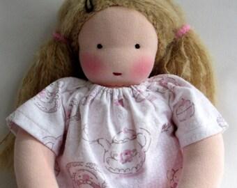 tea party dress, Waldorf doll dress, doll nightgown, 14 - 16 inch, doll clothes, germandolls, cloth doll
