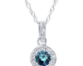 "1/4CT Blue & White Diamond Halo Dangle Pendant Vintage 14K White Gold W/ 18"" Chain"