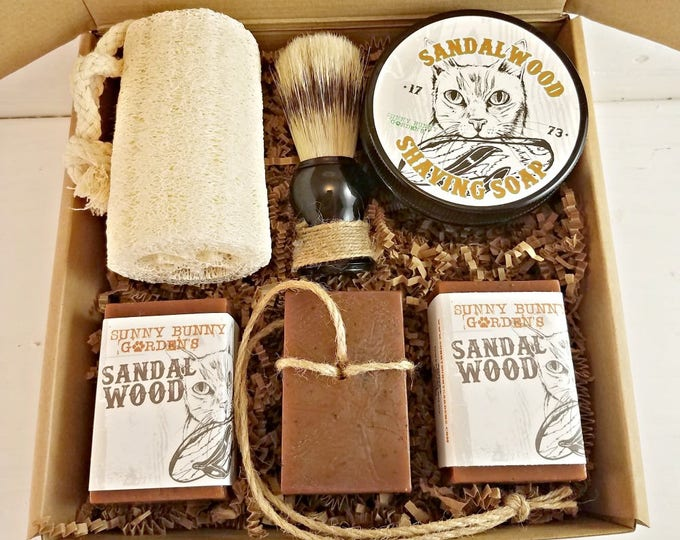 Featured listing image: Sandalwood Shaving Soap, Mens Shave Soap Gift Box, Gifts For Men, Shaving Soap Jar, Fathers Day Gifts Old Fashioned Shave Soap Mens Gift Box