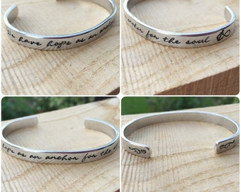 we have hope as an anchor for the soul - Hand stamped cuff, inspirational, anchor, hope, flourish, personalised, hebrews 6:19, firm, secure