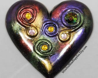 Heart Cabochon with Rhinestones and Spirals, Polymer Clay Heart, Polymer Clay Cabochon, Red, Purple, Green, Gold, Pink, Multicolor