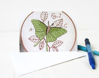 Blank thank you cards, hand embroidery art note cards, blank notecards, stationery, insect card notecards with envelope, handmade in the UK