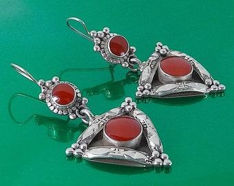 Pendientes únicos en Plata 925 y Jaspe/Handmade Silver 925 and Jasper earrings