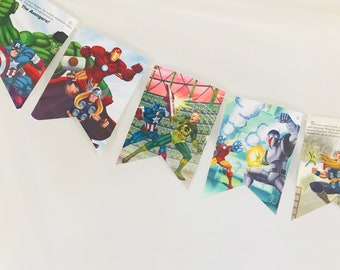 The Mighty Avengers Upcycled Story Book Pages Bunting Pennants Nursery Decor Baby Shower Birthday Party Garland Flags