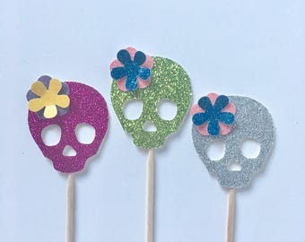 Glitter Skull Cupcake Toppers - Halloween Cupcake Toppers - Day of the Dead - Cinco de Mayo - Fiesta Wedding Cake Toppers