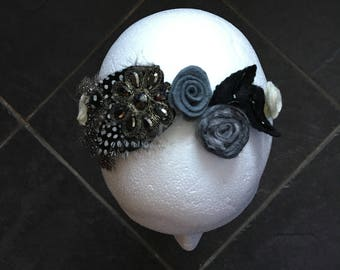 Hairband With Feathers, Sparkle And Felt Roses In Greys and Off-White