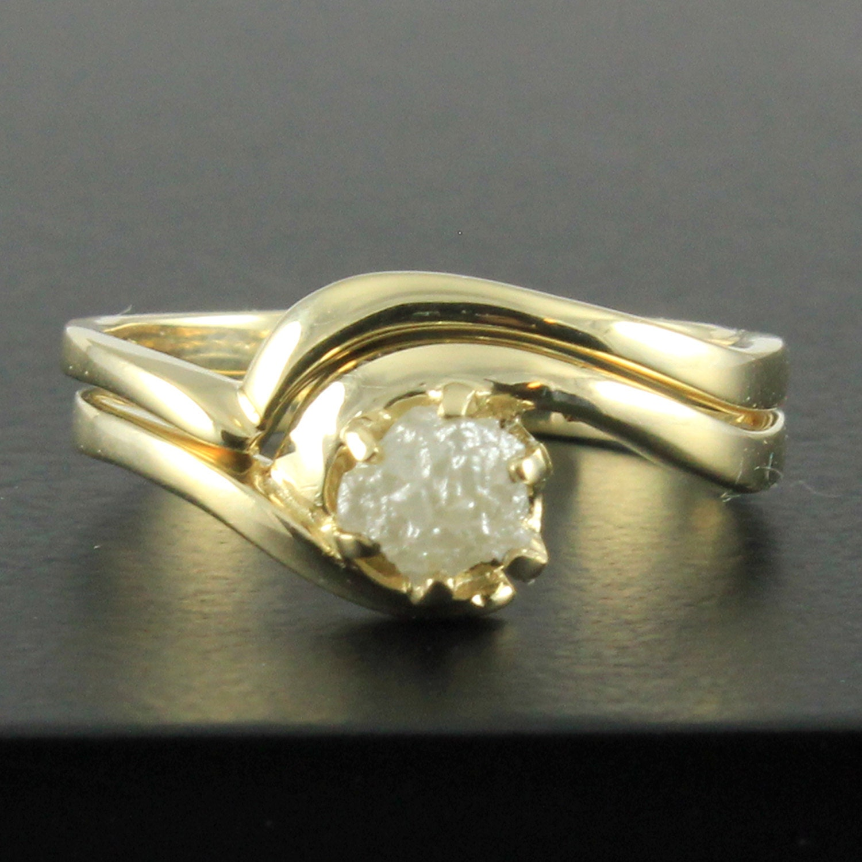 Engagement Ring Set with Rough Diamond 14K Yellow Gold Wedding