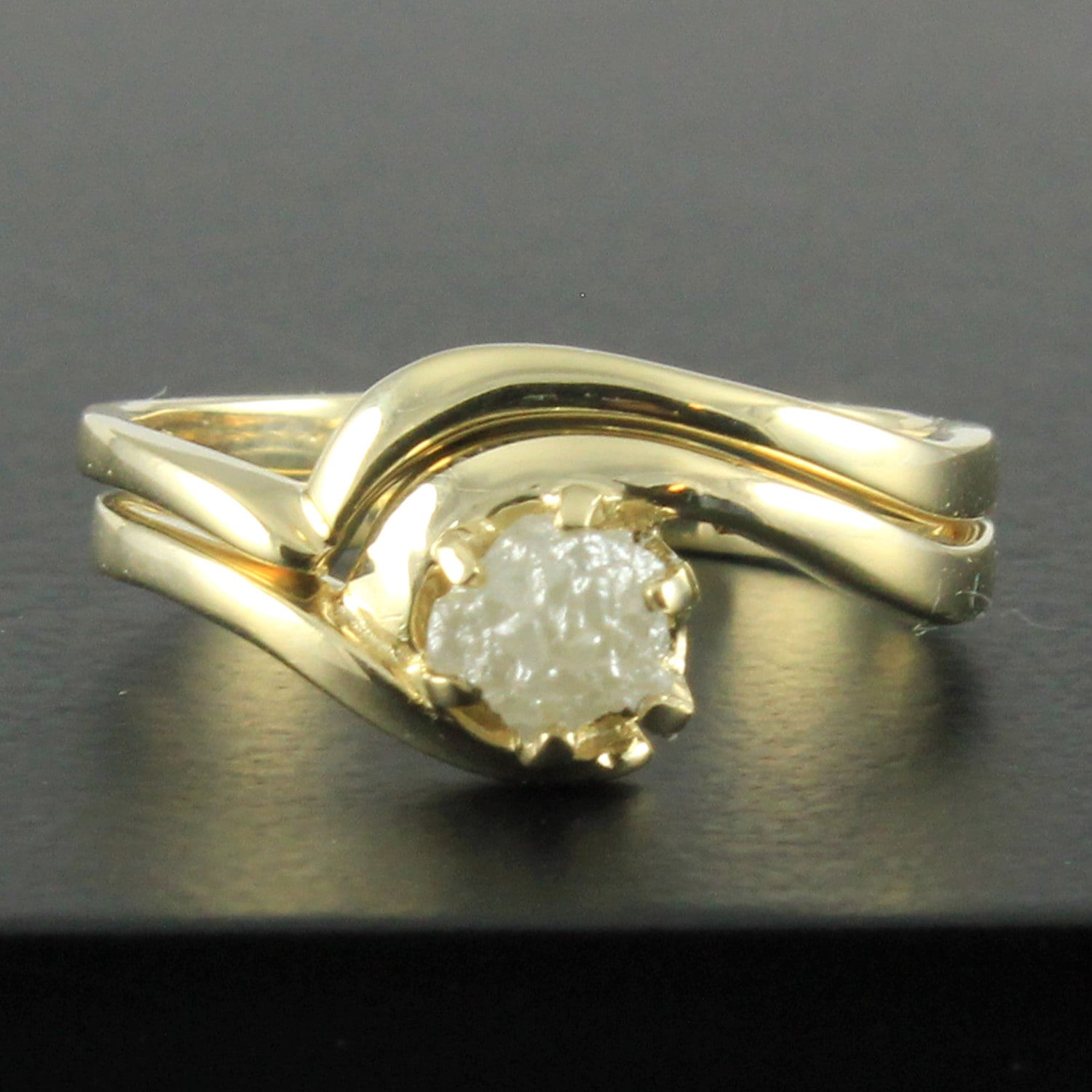 caroline engagement rings original raw ring by rough diamond orange carolinebrook uncut product