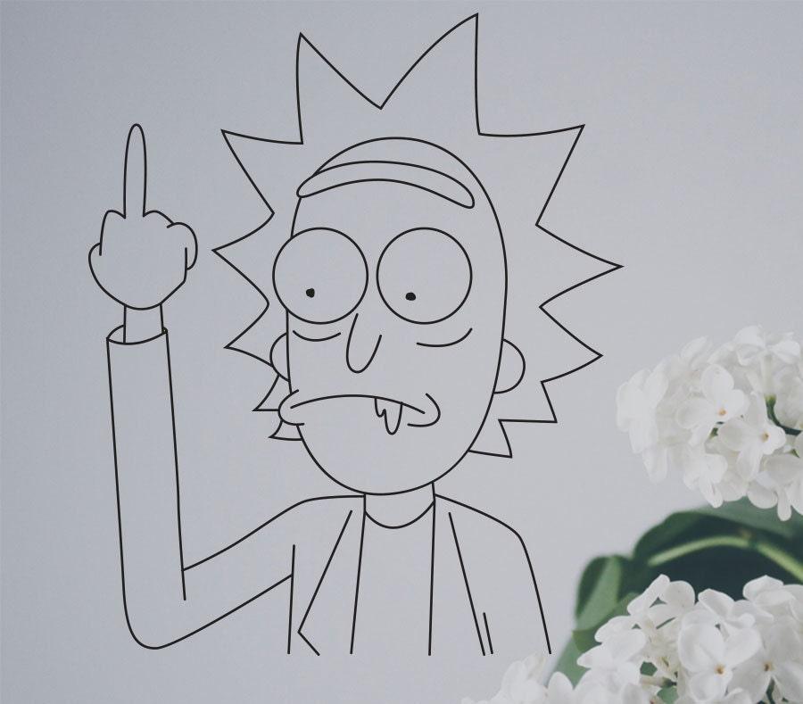 Rick and Morty Black Vinyl Sticker Sanchez Middle Finger