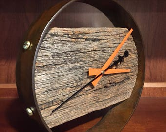 Steel and wood wall or table clock