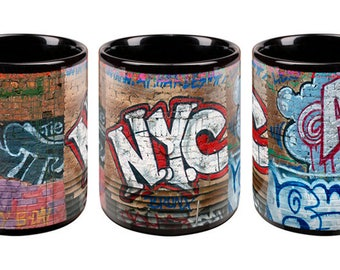 Andre Charles NYC Graffiti Wall Black Mug