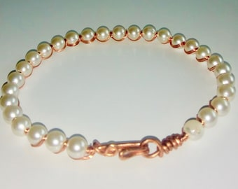 Pretty in Pearl  copper wirework bracelet