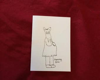 Expecting Horse Greeting Card (Baby Shower, Thinking of You, For fun, Anytime Card!)