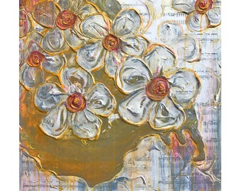 Abstract Plaster Flower Painting in Orange, Yellow, Red, Blue Gray, White & Metallic Silver with Sheet Music - Original Acrylic Art on Board
