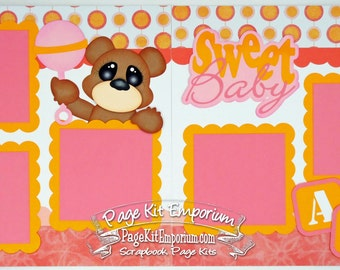 Scrapbook Page Kit Sweet Baby Girl 2 page Scrapbook Layout Kit 068