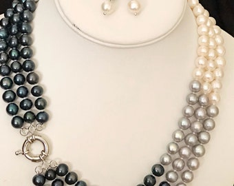 Multicolor classic pearl necklace with earrings