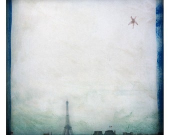 pAris (Landscape Photography - Fine Art Print -  Eiffel Tower - Paris - France - City - Sky - Star - Painting - Dark Blue - Grey)