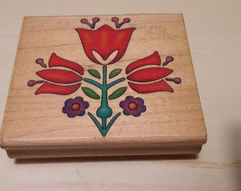Retired Rubber Stamp   - Swiss Flower