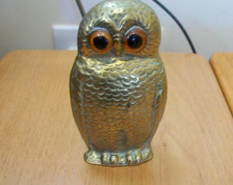 Vintage Brass Owl Pen Pot/Paperweight