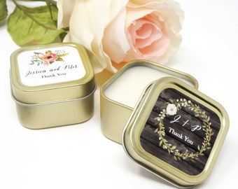 Personalized Floral Garden Gold Square Candle Tins - Bridesmaids Gifts - Maid of Honor - Wedding Gifts - Favors - 24 units