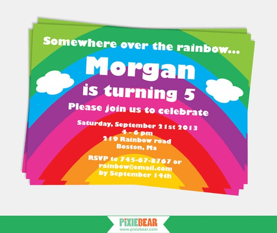 Rainbow Party Invitation Rainbow Birthday Invitation