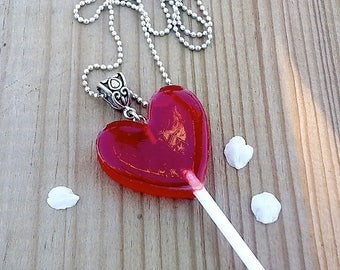 Lollipop red resin Heart Necklace