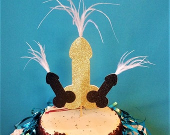 Bachelorette Party Penis Cake Topper with Feathers - Bachelorette Party Decorations, Penis Decorations, Hen Party, Same Penis Forever Party