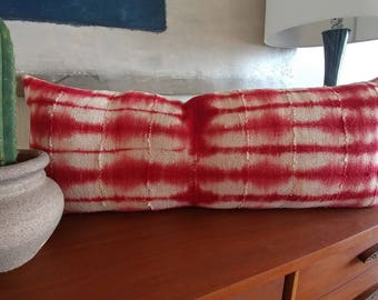 Christmas Cheer Red & Cream Huge Lumbar made from African Mudcloth