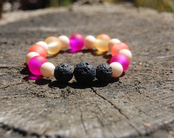 Pink And Cream Essential Oils Bracelet/ Beaded Bracelet/ Lava Beaded Bracelet/ Stress Relieving Bracelet