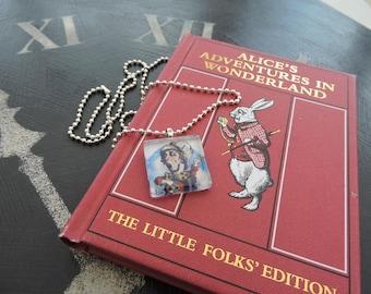 Alice In Wonderland MAD HATTER Glass Tile Necklace