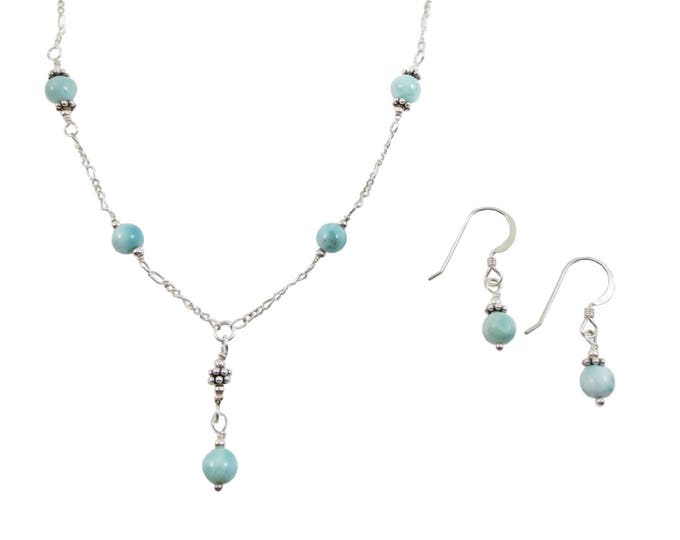 Larimar Set - Larimar Jewelry - Bead Set - Bead Jewelry - Beaded Jewelry - Y Necklace - Bead Earrings - on Sterling Silver or 14k Gold Fill