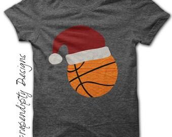 Basketball Iron on Transfer - Iron on Christmas Shirt PDF / Boys Christmas Outfit / Santa Basketball T-Shirt / Kids Orange Clothing IT326