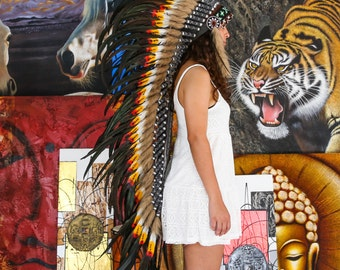 The Original - Real Feather Red/ Yellow and Black Chief Indian Headdress Replica 135cm, Native American Style Costume Hand Made War Bonnet