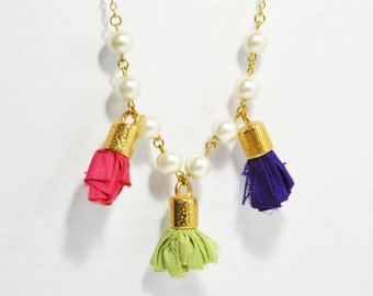 Bead Strand Necklace - Silk Tassel Necklace - Gold Statement Necklace - Mauve Light Pink Light Green Tassels & Ivory Pearls