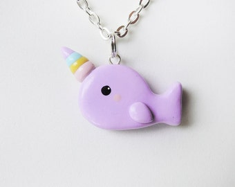 Rainbow Horn Purple Narwhal Necklace Kawaii Polymer Clay Jewelry