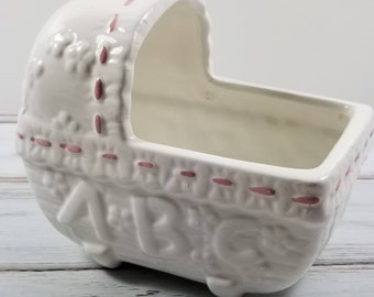White & Pink Baby Crib Planter Porcelain 1960s, Baby Nursery Decor, Vintage Baby Planter