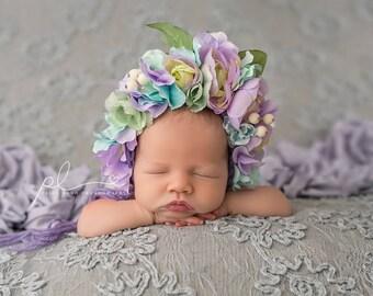 Flower Bonnet, Floral Bonnet, Garden Bonnet, Sitter Bonnet, Baby hat, Baby Photo Prop, Newborn Photo Prop, Knit Baby Bonnet, Baby Hat