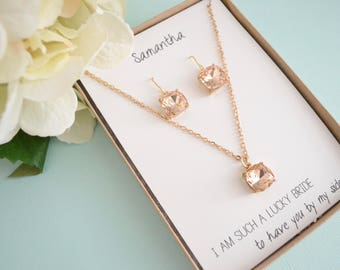 Blush Pink Bridesmaid Jewelry Set, Mother of the Bride, Mother of the Groom, Wedding Jewelry, Pale Pink Necklace, Bridesmaid Gift Set