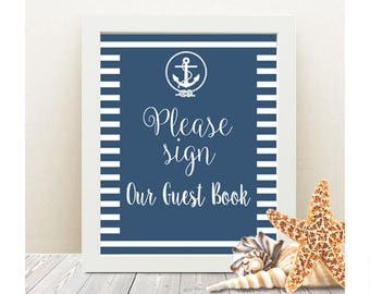 Please Sign Our Guest Book nautical wedding sign - INSTANT DOWNLOAD - Printable Poster, anchor, decoration, rope, print, quote, art, DIY