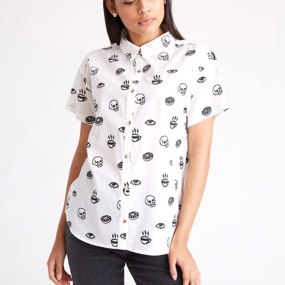 Morning Glory Casual Button-Up Top Coffee Donuts Skull Eye Food Foodie Breakfast Mens & Womens D6LBf