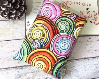 Shells Book Buddy, Beach Book Sleeve, Colourful Bookish Accessory, Paperback or Hardback Book Cover, Summer Swirl Book Bag, Book Lover Gift