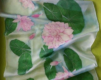 Hand painted silk scarf. Water lily lotus