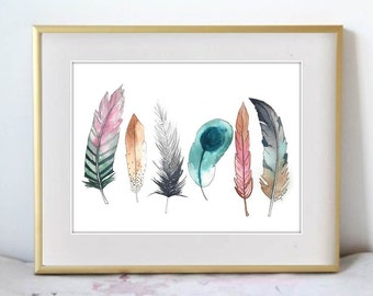 Feather Fun, Print of Original Watercolor Painting - Feather wall art - Office decor and home decor