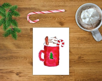 Hot Chocolate Card | Christmas Printable Card | Hot Coco Art | Christmas Art Card | Digital Download