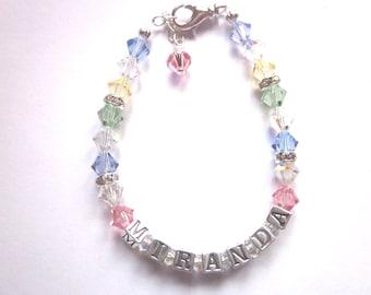 Personalized Swarovski and Sterling silver bracelet