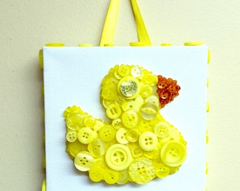 Yellow Duck Button Wall Hanging decoration