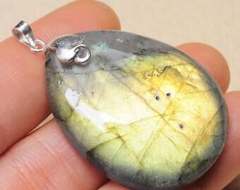 "Natural Labradorite sterling silver 1-3/4 "" pendant  ( #J1653)"