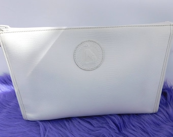 Francois Marot White Leather Clutch Purse Makeup Cosmetic Bag Made in France